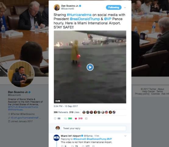 Director de redes de Trump difunde falso video sobre huracán 'Irma'
