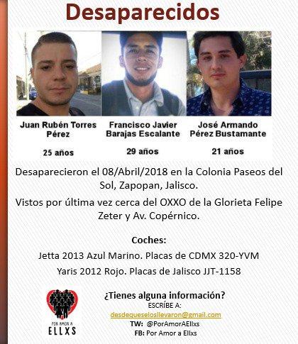 Armando, Rubén y Francisco: tres jóvenes más desaparecieron en Jalisco